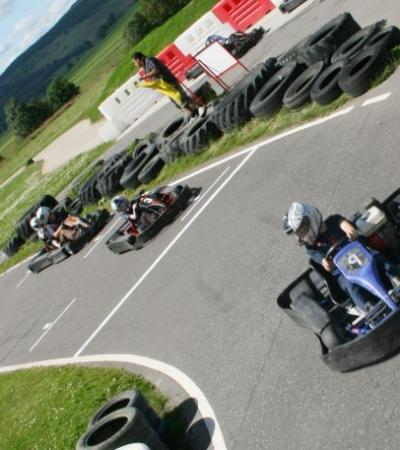Kids go kart racing at Deeside Activity Park in Aboyne