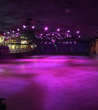Night ice skating arena at Funkys in Norwich
