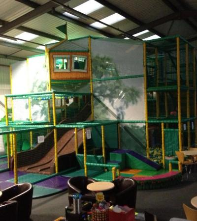 Indoor soft play frame and cafe area at Tubby Bears Playzone in Derby
