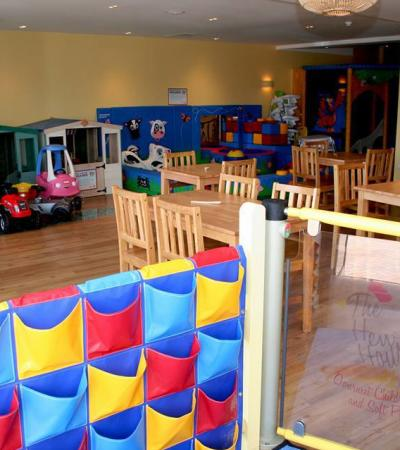 Play area and seating area at The Hen House in Haslemere