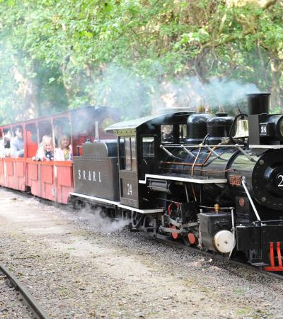 Steam train at Audley End Miniature Railway in Saffron Walden
