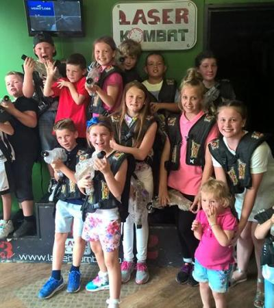 Kids playing laser tag at Laser Kombat Basildon