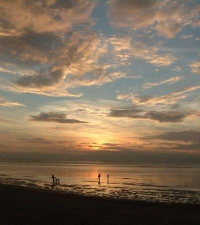 A view of Snettisham Beach at sunset, Snettisham