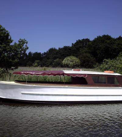Carvel-built Broads boat on the Horsey Gap and River Trip
