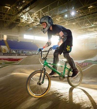Cyclist at National Cycling Centre in Manchester