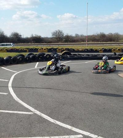 Kids racing at Nottingham Raceway Karting in Melton Mowbray