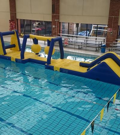 Inflatable assault course at Deben Swimming Pool in Woodbridge