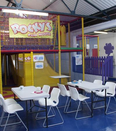 Indoor soft play frame and seating area at Rockys Fun House Billericay