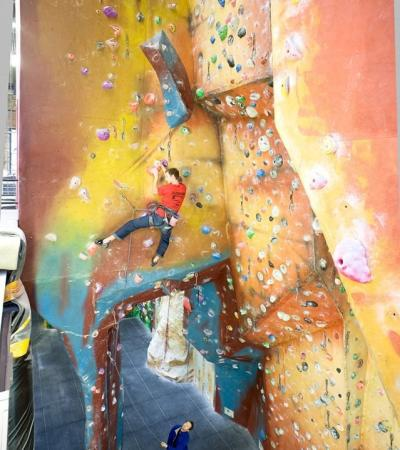 People climbing at The Castle Climbing Centre in Stoke Newington