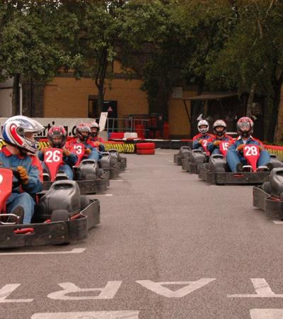 People go karting at Revolution Karting in Tower Hamlets