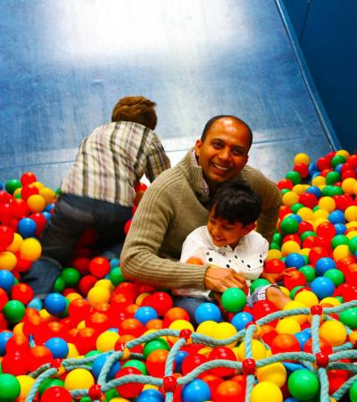 Family in ball pit at The Big Play Barn in Tamworth