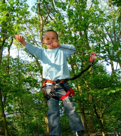 Boy on high rope course at Jungle Parc Swindon