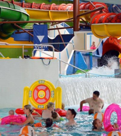 Families in swimming pool at Doncaster Dome