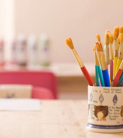 Paint brushes at Pottery Cafe Battersea