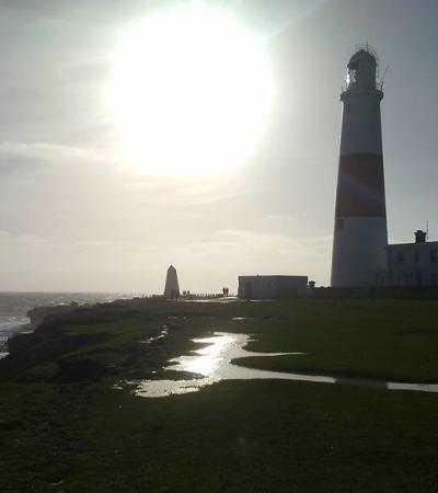 Outside view of Portland Bill Lighthouse in Dorset