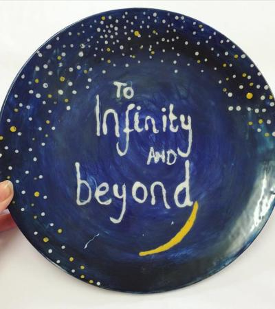Hand painted ceramic plate at Studio Scribbles in Newmarket