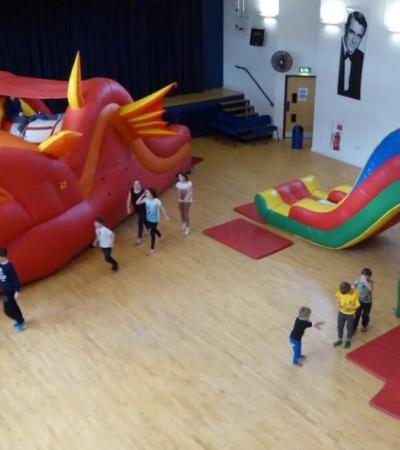 Dragon and castle inflatables at Verwood Hub Community & Leisure