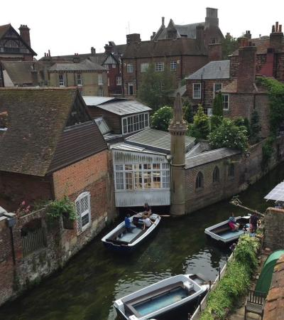 Hill top view of Canterbury Historic River Tours