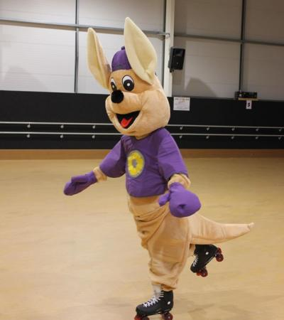 Mascot rollerskating at CurveMotion in Bury St Edmunds
