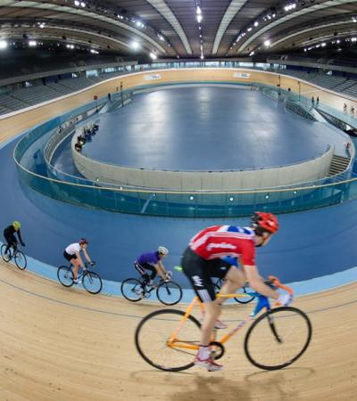 Velodrome track at Lee Valley VeloPark in Hackney