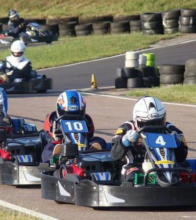 People go kart racing at Bayford Meadows in SIttingbourne