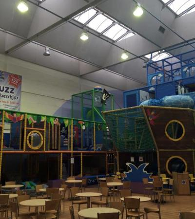 Indoor soft play frame and cafe area at Walnuts Leisure Centre in Orpinton