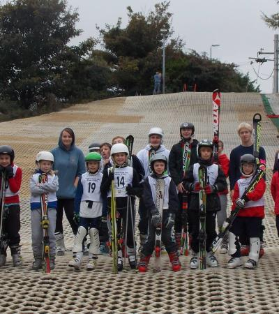 Kids in skiing lesson at Folkestone Ski Centre