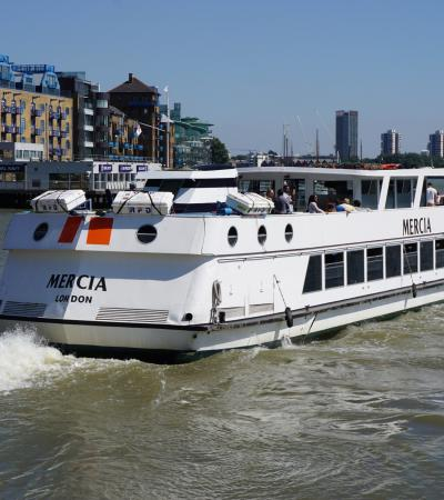 The Mercia cruising Thames at Thames River Services in London
