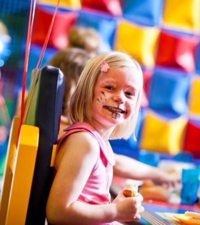 Girl at birthday party at Wacky Warehouse Hartford Mill in Huntingdon