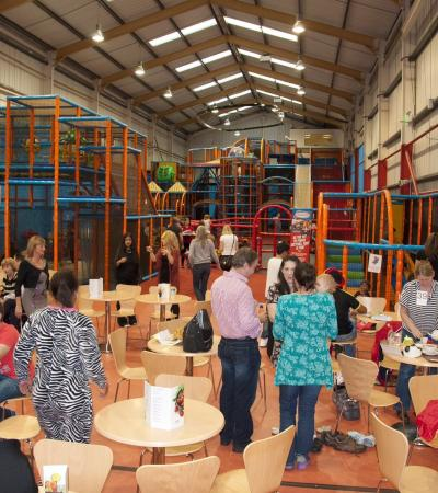 Families at cafe area in The Play Arena in Sheffield