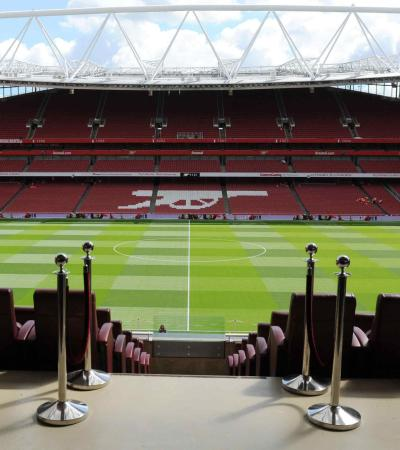 View from stands at Arsenal Emirates Stadium Tour in London