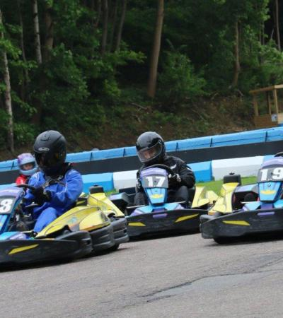 People go kart racing at Buckmore Park Karting in Chatham