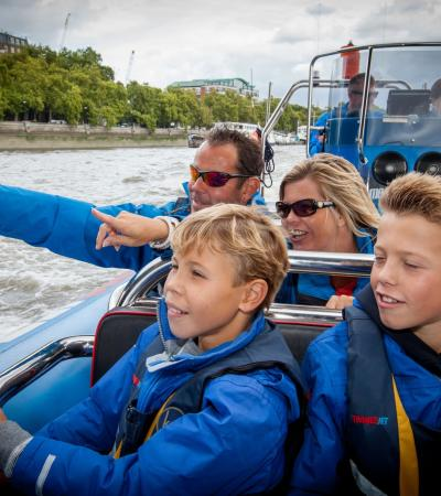 Passengers sightseeing on ThamesJet boat in London