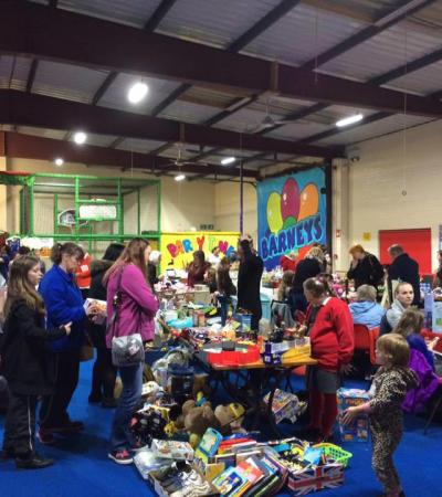 Families shopping at sale at Barneys Indoor Play Centre in Coalville