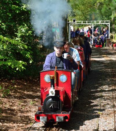 Miniature passanger train at Frimley Lodge Park and Miniature Railway in Camberley