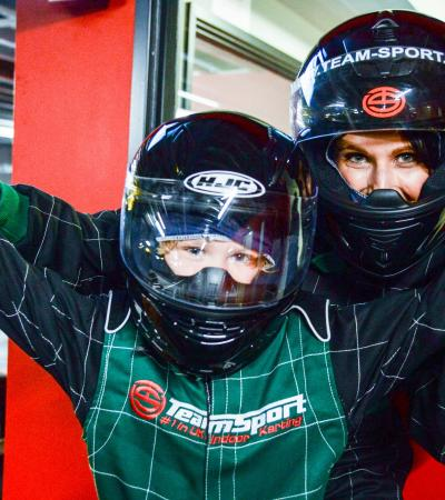 Mum and son at TeamSport Indoor Karting Crawley