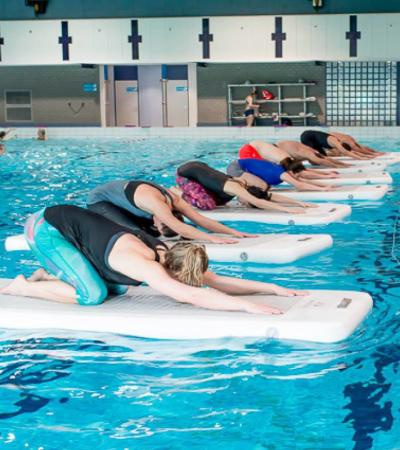 People exercising in pool at Northcroft Leisure Centre and Lido in Newbury
