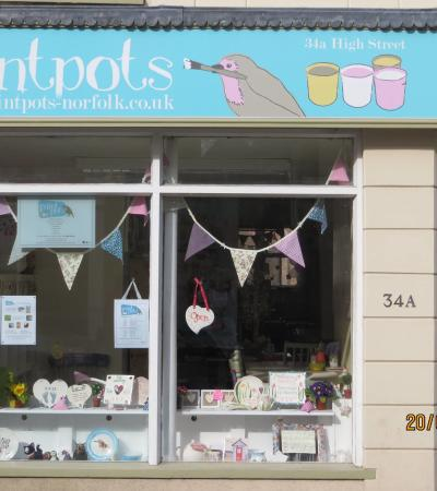 Window display at Paint Pots in Downham Market