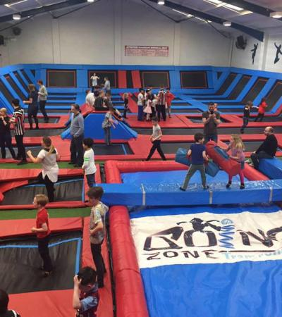 Kids jumping on trampolines at Boing Zone in Stourbridge
