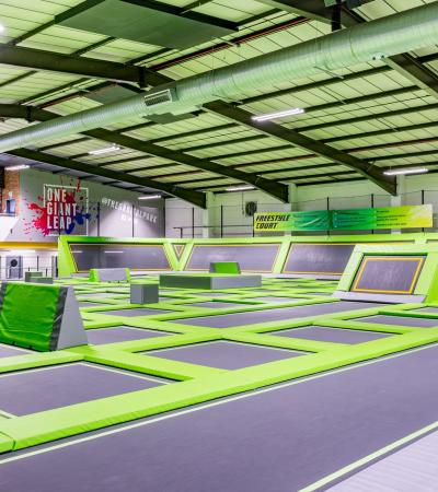 Trampolines at Orbital Trampoline Park in Luton