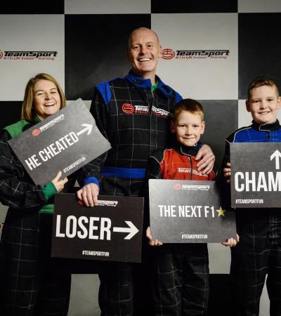 Family at TeamSport Indoor Karting Leicester