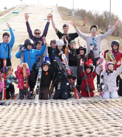 Kids and instructors at Tallington Lakes Leisure and Ski Centre in Stamford