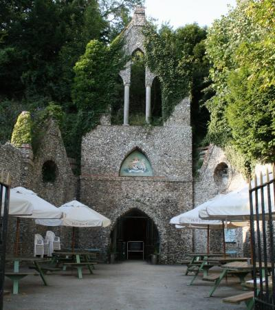 Entrance to Hellfire Caves in West Wycombe