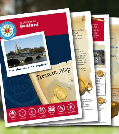 Map and booklet for Bedford Treasure Trail