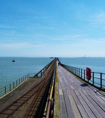 People on Southend Pier and Train in Southend on Sea