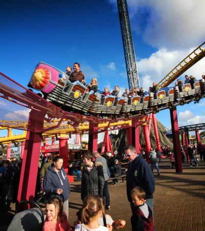 Families enjoying rides at Fantasy Island in Skegness