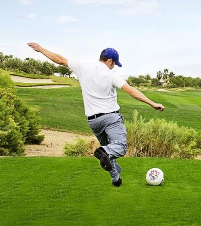 Man playing footgolf at FootGolf - Hinksey Heights in Oxford