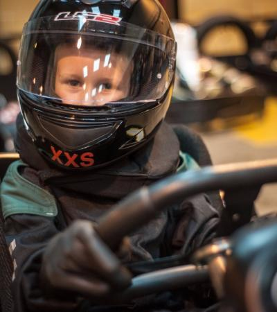 Boy on go kart at Absolutely Karting in Maidenhead