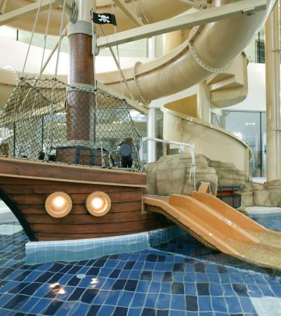 Pirate ship feature at Corby International Swimming Diving Pool