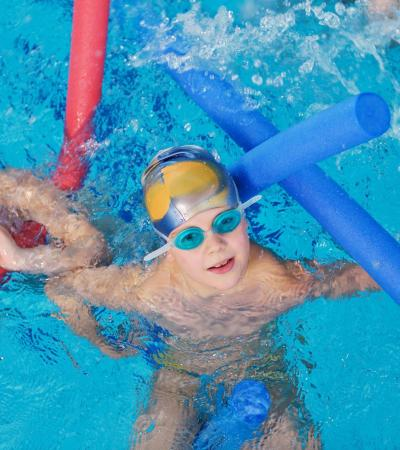 Boys in swimming pool at Larkfield Leisure Centre in Aylesford